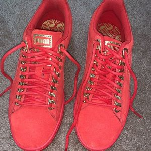 Puma Sneakers Size 8.5 women's Red gold